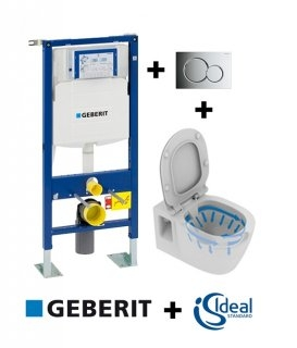 Pack Geberit UP320 + Cuvette sans bride CONNECT + Sigma Chromé Brillant
