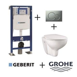 Pack WC Geberit UP320 + Cuvette GROHE sans bride Bau Ceramic + plaque Sigma CHR mate