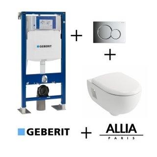 Pack WC Geberit UP320 + Cuvette Prima+ ALLIA + plaque Sigma chromée brillante
