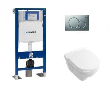 Pack WC Geberit UP320 + Cuvette O'Novo VILLEROY + plaque Sigma Chromé Mat