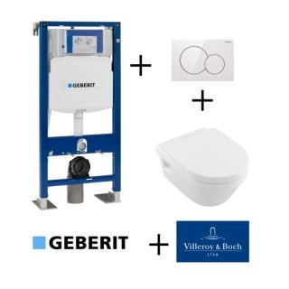 Pack WC Geberit UP320 + Cuvette Architectura D Villeroy + Plaque Sigma blanche