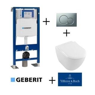 Pack WC Geberit UP320 + Cuvette VILLEROY ET BOCH Subway 2.0 + plaque Sigma Chromé Mat
