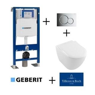 Pack WC Geberit UP320 + Cuvette VILLEROY ET BOCH Subway 2.0 + plaque Sigma Chromé Brillant