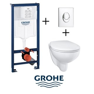 Pack WC Grohé Rapid SL Mural + Cuvette sans bride BAU CERAMIC + Plaque Chromée Brillante