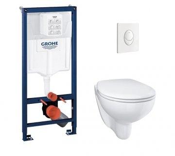 Pack WC Grohé Rapid SL Mural + Cuvette sans bride BAU CERAMIC + Plaque Blanche