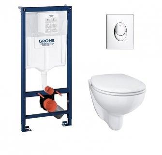 Pack WC Grohé Rapid SL Mural + Cuvette sans bride BAU CERAMIC + Plaque Chromée Brillante