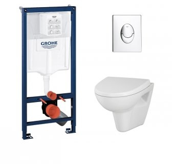 Pack WC Grohé Rapid SL Mural + Cuvette VELVET + Plaque Chromée Brillante