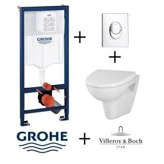 Pack WC Grohé Rapid SL Mural + Cuvette Villeroy et Boch O'Novo + Plaque Chromée Brillante