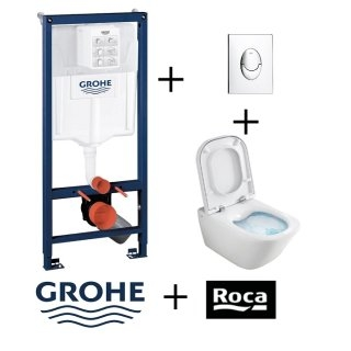 Pack WC Grohé Rapid SL Mural + Cuvette GAP Cleanrim ROCA + Plaque Chromée Brillante