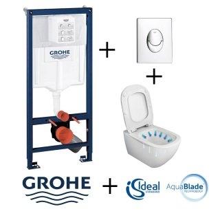 Pack WC Grohé Rapid SL Mural + Cuvette sans bride Tesi AquaBlade + Plaque Chromée Brillante