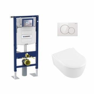 Pack WC Geberit UP320 + Cuvette AVENTO Villeroy & Boch + Plaque Blanche*