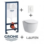 Pack Grohé Rapid SL Mural + Cuvette sans bride Rimless Slim + Plaque de commande
