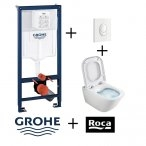 Pack Grohé Rapid SL Mural + Cuvette GAP Cleanrim ROCA + Plaque de commande