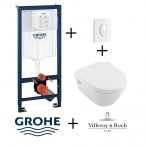 Pack Grohé Rapid SL Mural + Cuvette Architectura Design sans bride + Plaque de commande